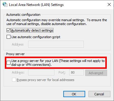 LAN settings proxy server checkbox