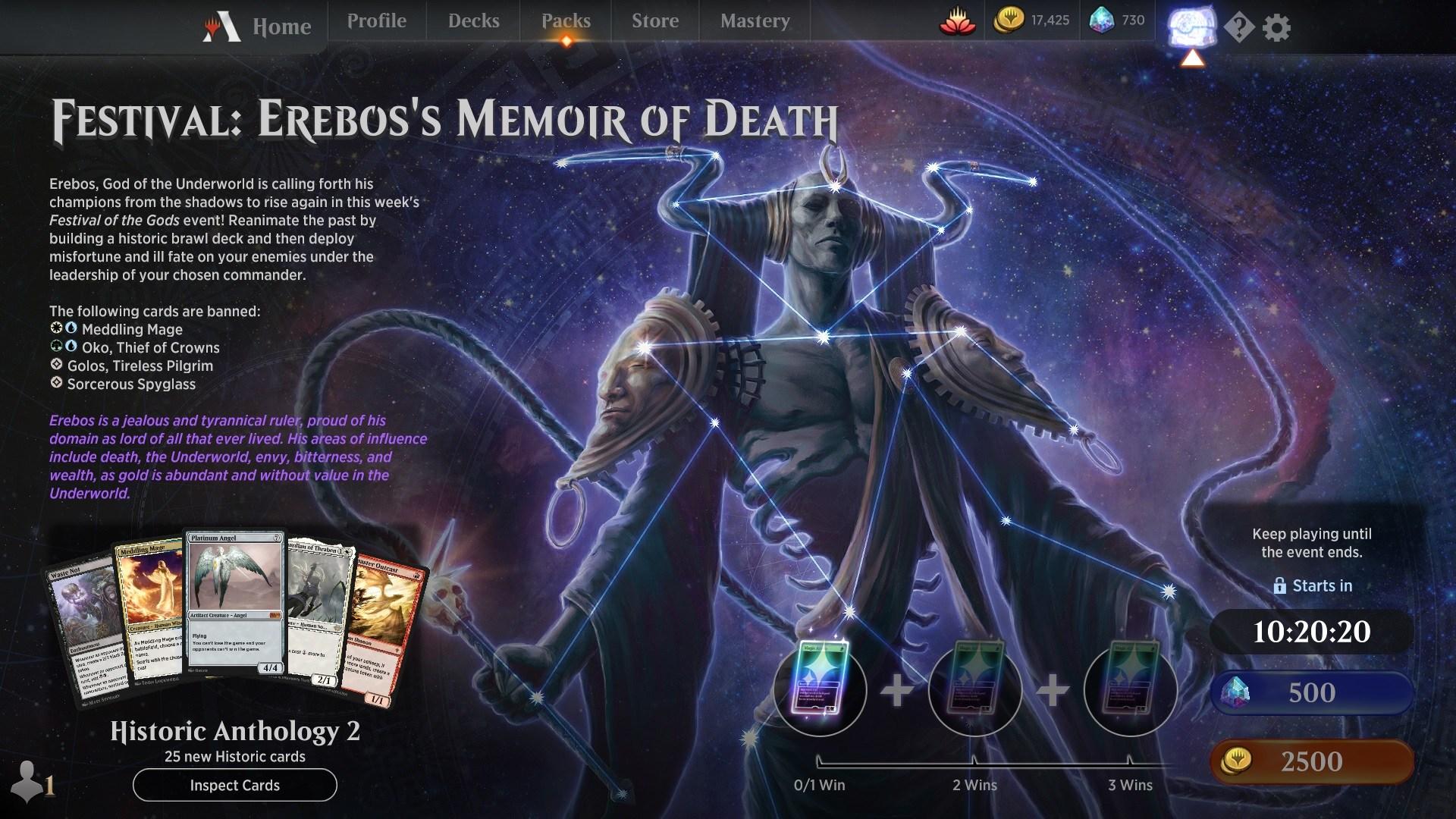 MTG Arena Festival Erebos's Memoir of Death event