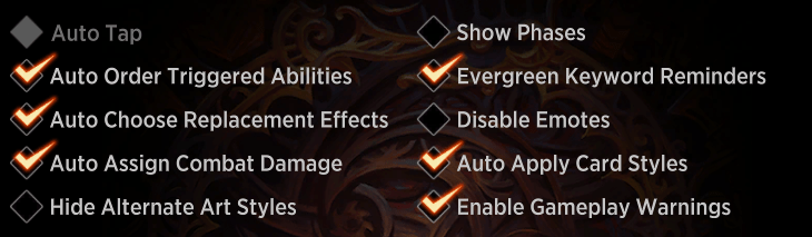 MTG Arena gameplay settings