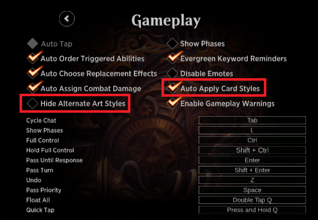 MTGA card style settings