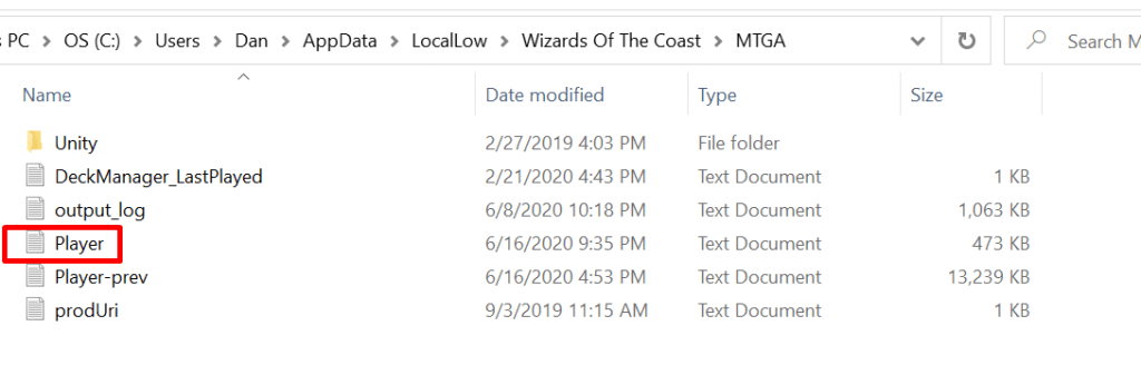 The Windows folder containing the Player.log file