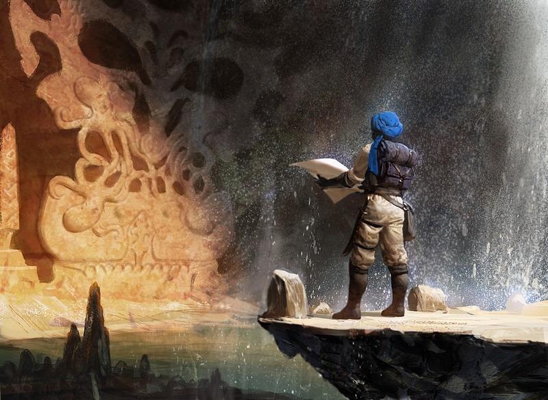 Quest for Ancient Secrets MTG card art by Mike Bierek