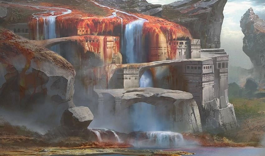 Sulfur Falls MTG card art by Cliff Childs
