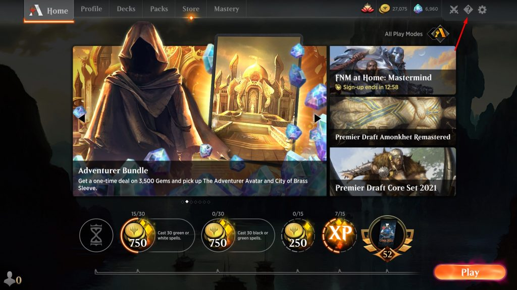 The Learn More button on the MTGA home screen