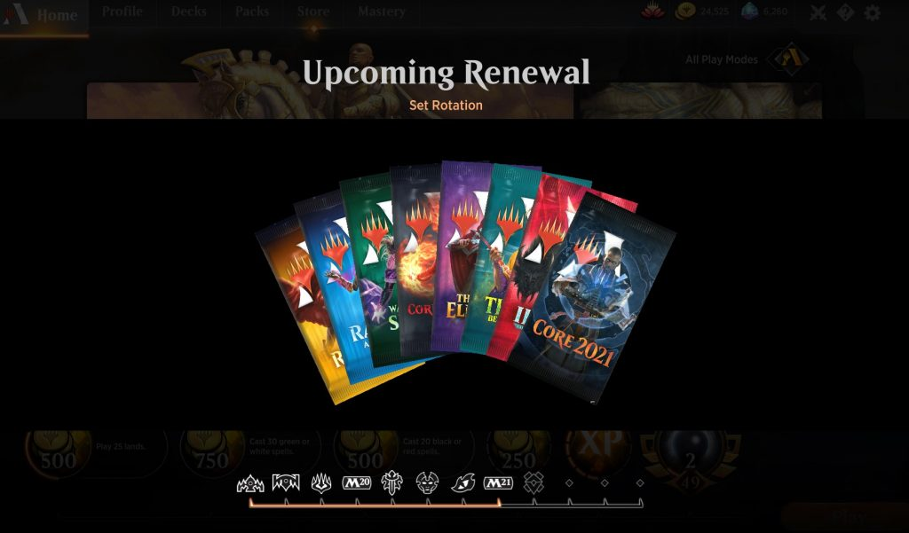 2020 renewal in MTG Arena - packs of the sets in standard