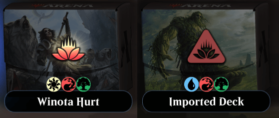MTG Arena imported deck icons