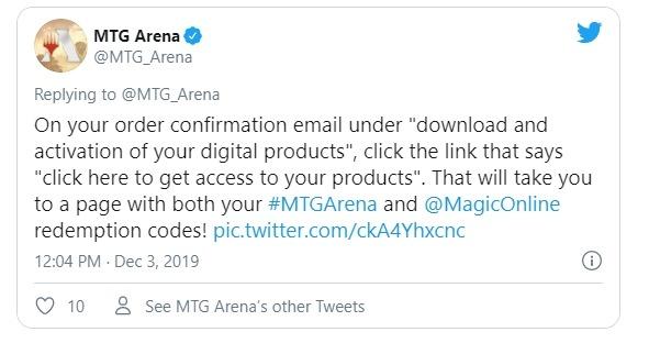 MTG Arena instructions for secret lair codes