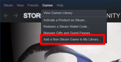 """Steam """"Add a Non-Steam Game to my Library"""" option"""