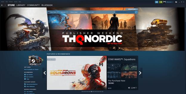 Steam main page