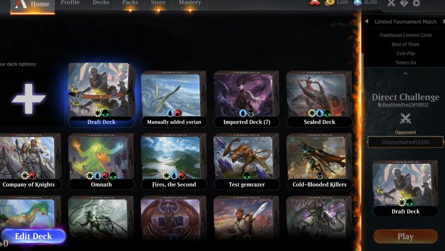 How to Direct Challenge with a Limited Deck in MTGA