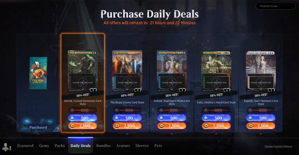 MTG Arena Daily Deals page