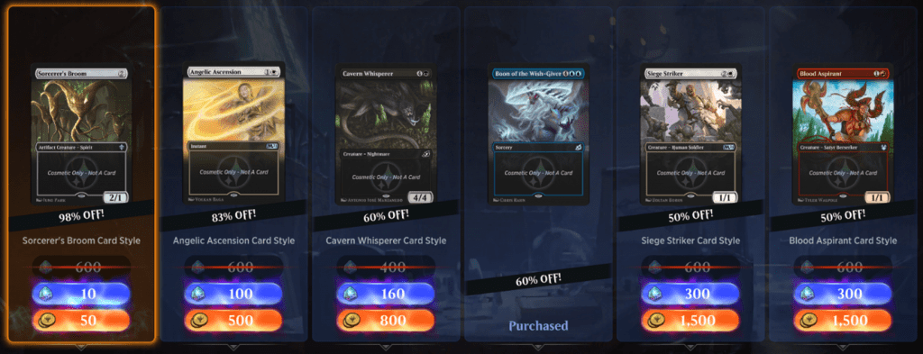MTG Arena card styles daily deal