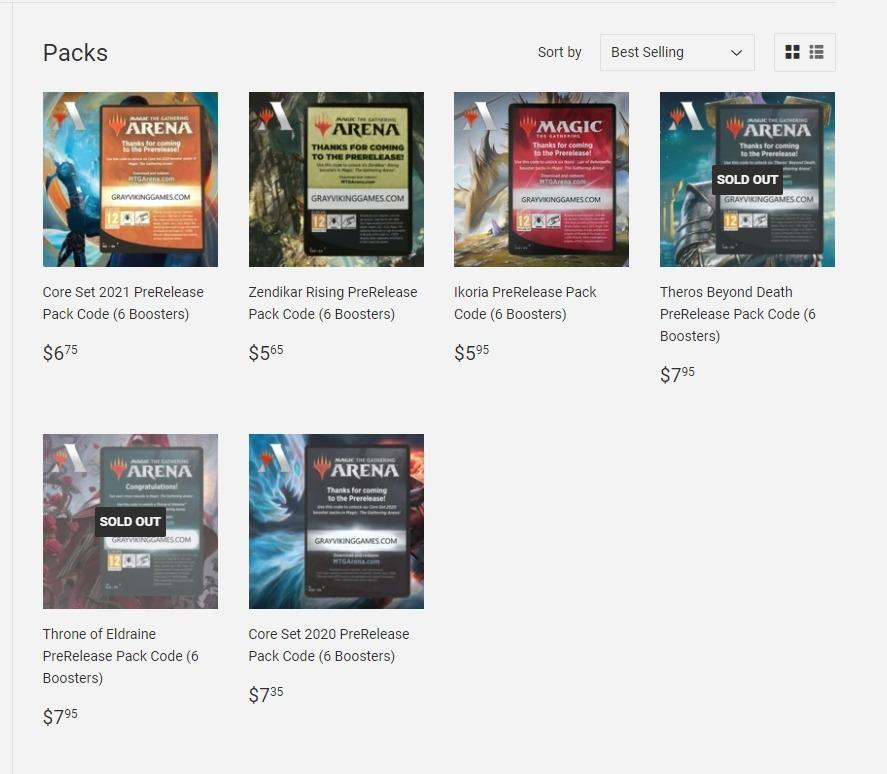 Packs for sale on Gray Viking Games