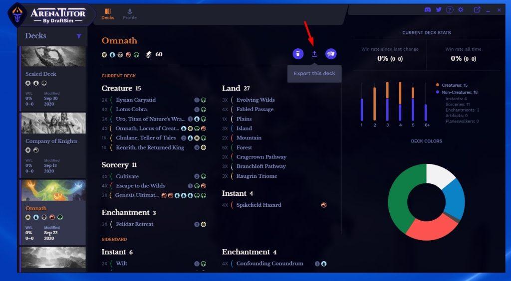 Arena Tutor deck export button