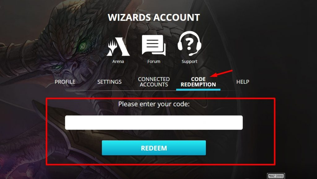 Redeem MTG Arena Code in Wizards store for mobile users