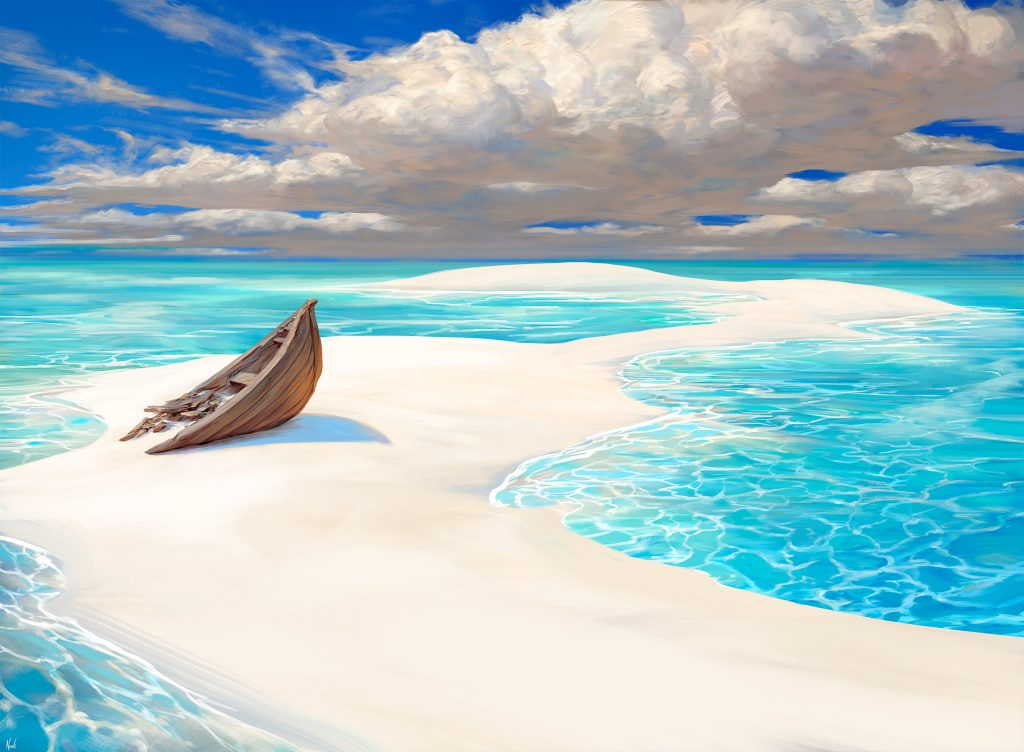 Lonely Sandbar - Illustration by Noah Bradley