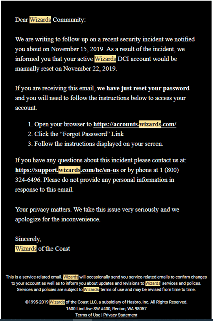 WotC password reset email