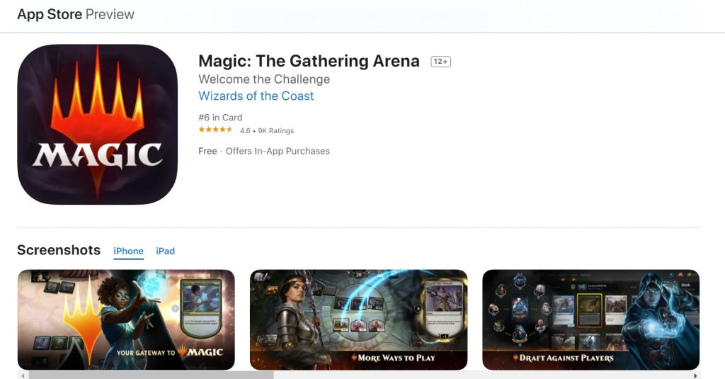 Apple app store listing for MTG Arena