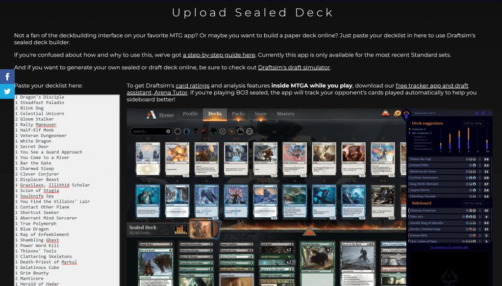 Draftsim Sealed deckbuilder upload