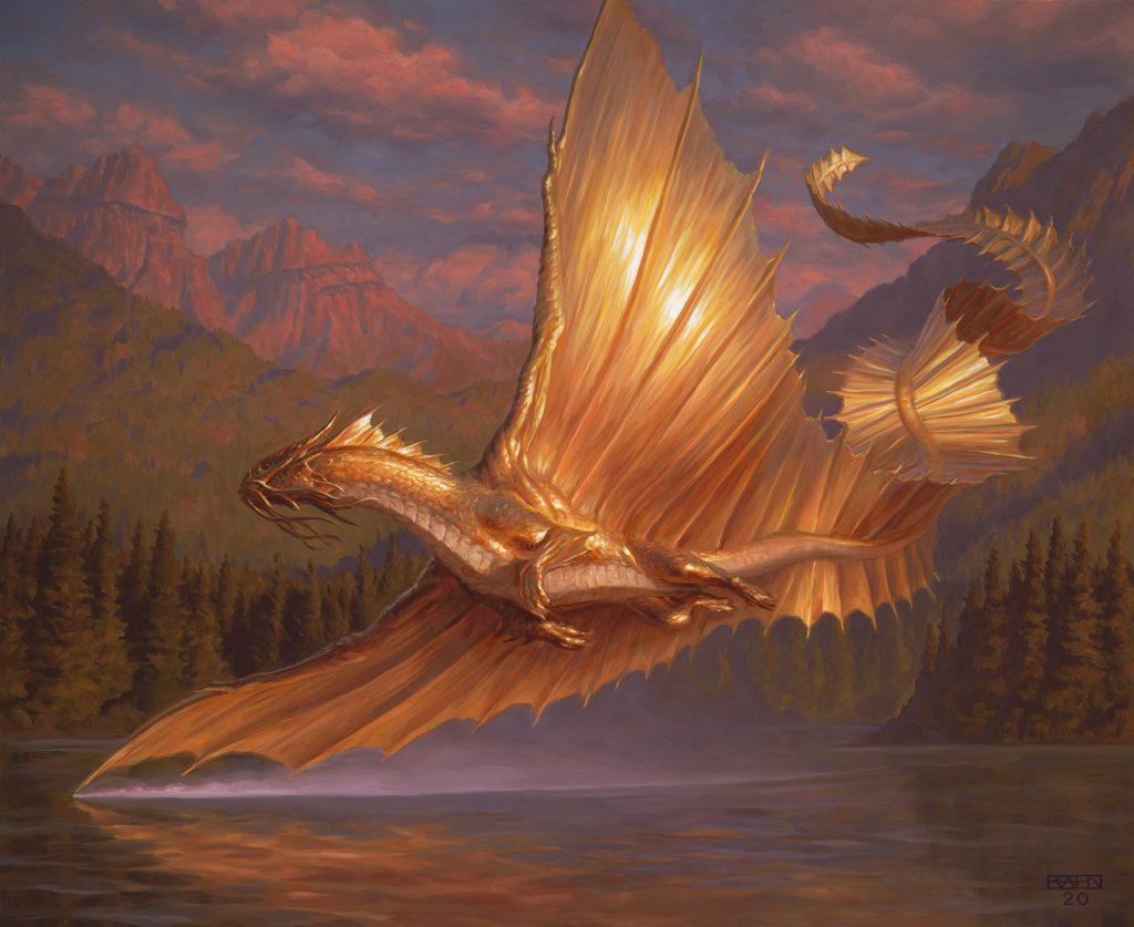 Adult Gold Dragon - Illustration by Chris Rahn