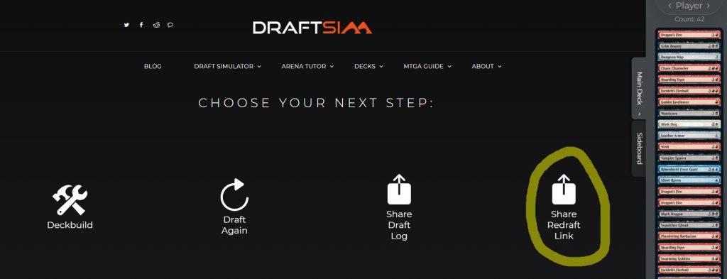 Draft replay button on Draftsim