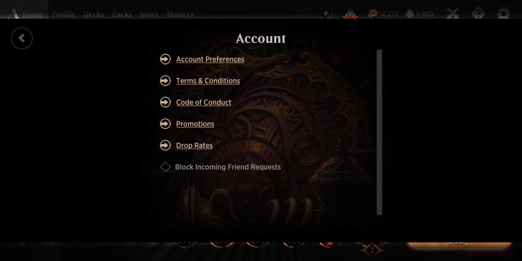 Account options in MTG Arena