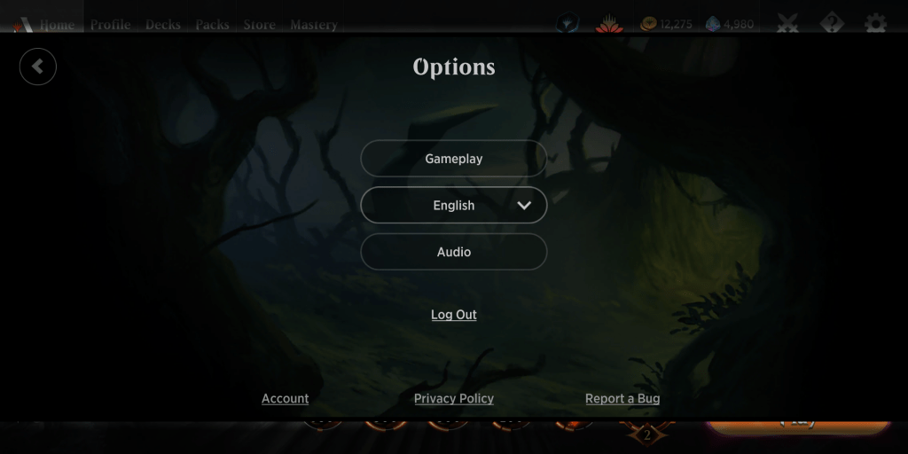 Mobile options in MTG Arena