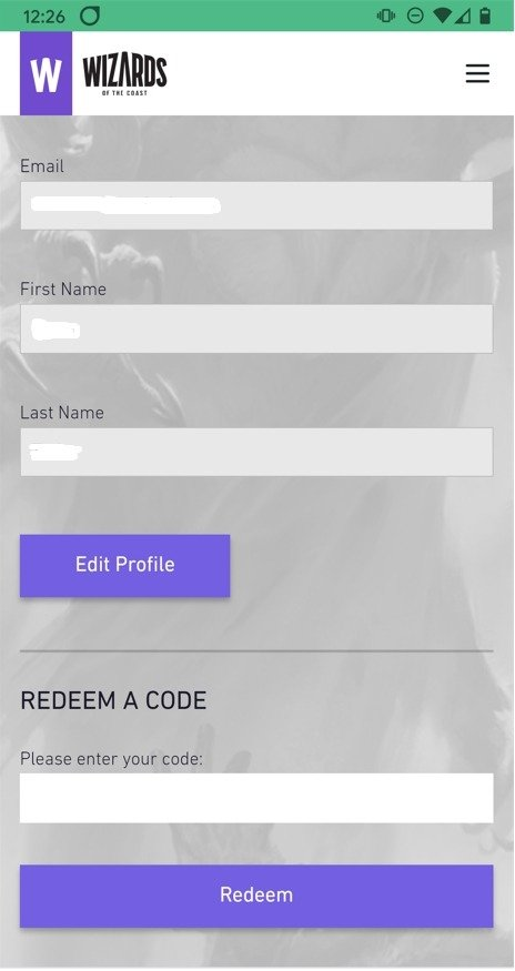 Redeeming a code on the Wizards of the Coast website