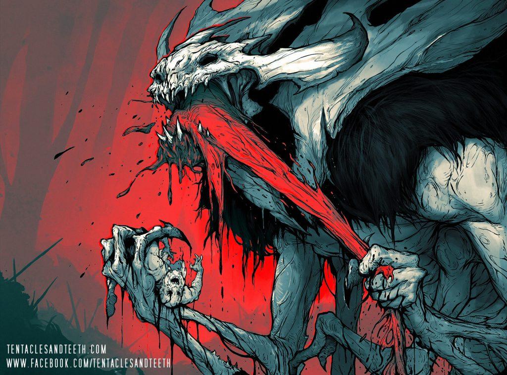 Vorinclex, Monstrous Raider (Kaldheim art series) - Illustration by Richard Luong