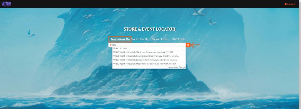 WotC Store & Event Locator search bar