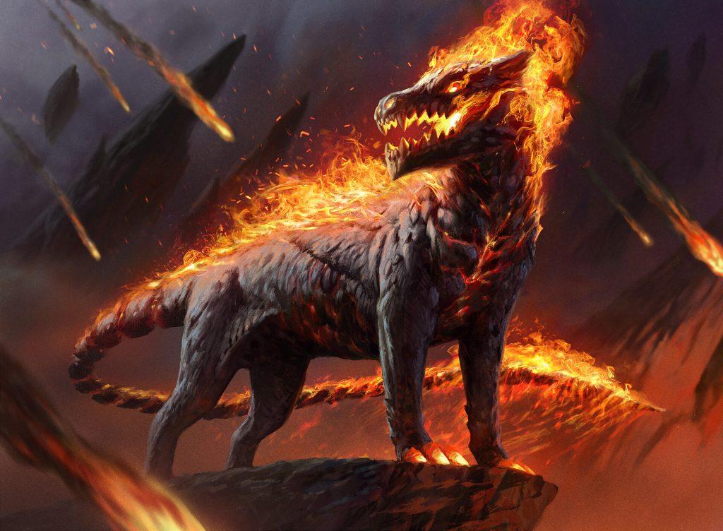 Akoum Hellhound - Illustration by Jason Kang
